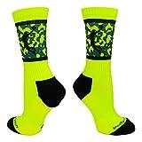 Basketball Player Crew Socks (Neon Yellow/Black, Medium)