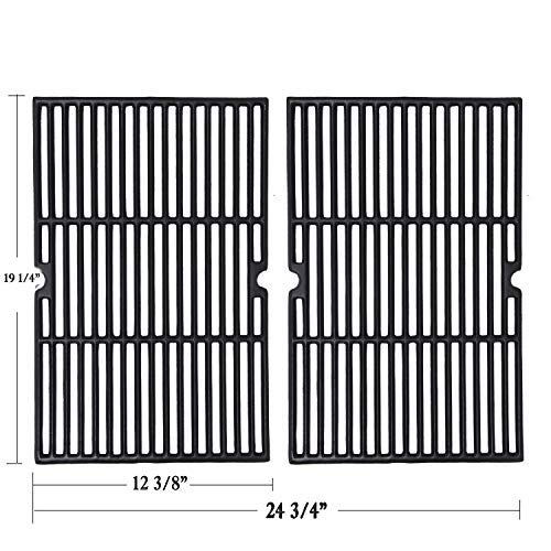 GGC Grill Grid Grate Replacement for Charmglow, BBQ Grillware, Jenn-Air, Grill Zone, Weber, Kenmore, Nexgrill and Others, 2-Pack Porcelain Coated Cast Iron Cooking Grid (12 3/8