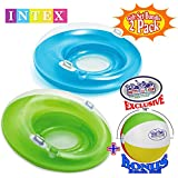 "Intex Sit 'N Lounge Inflatable Pool Loungers (47"" Diameter) Blue & Green Gift Set Bundle with Bonus Matty's Toy Stop 16"" Beach Ball - 2 Pack"