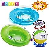 Intex Sit 'N Lounge Inflatable Pool Loungers (47'' Diameter) Blue & Green Gift Set Bundle with Bonus Matty's Toy Stop 16'' Beach Ball - 2 Pack
