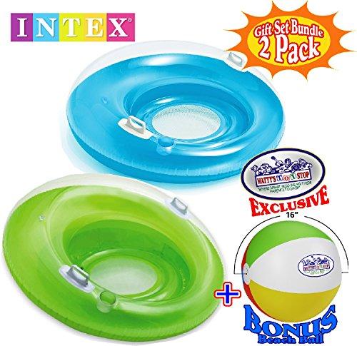 Intex Sit N Lounge Inflatable Pool Loungers (47 Diameter) Blue & Green Gift Set Bundle with Bonus Mattys Toy Stop 16 Beach Ball - 2 Pack