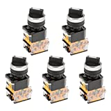 uxcell 5pcs Latching Lock 2 Positions Rotary Selector Select Switch DPST 440V 10A 22mm Mounting Hole Dia