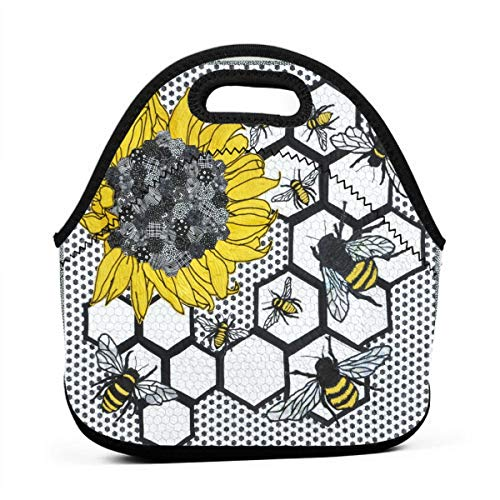 WONDERMAKE Sunflower Bee Beehive Durable Portable Lunch Bag Carry Case Tote Zipper Box Thermal Cooler Container Bags Picnic Outdoor Travel Fashionable Handbag Pouch for Women Men Teens Kids
