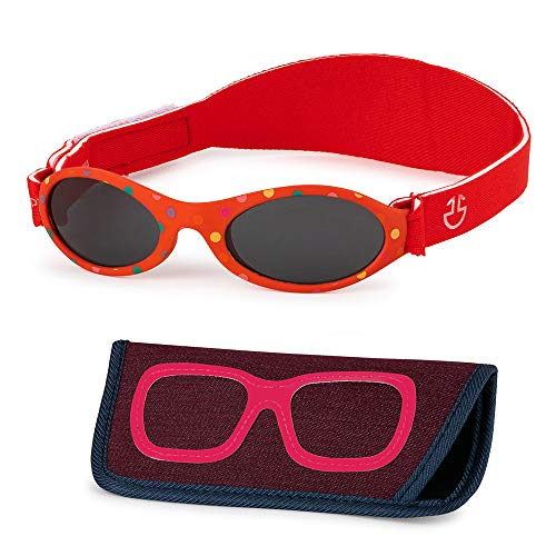 Baby Sunglasses 0-6, 6-12 month - Age 3 Years   Infant, Toddler Girl & Boy Sun Glasses with Adjustable Strap, Baby Beach Gear   UV 400 Protection   Soft Rubber Frame Sunshades with Case (Red)