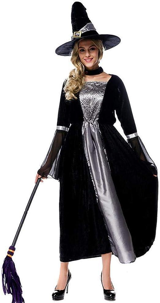 Yunfeng Halloween Bruja Disfraz para Mujer Traje de Brujas de ...