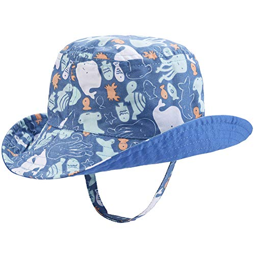 Baby Boys Sun Hat - Double-Sided Available Cartoon Summer Bucket Hat Toddler Play Hat(Octopus,50cm)