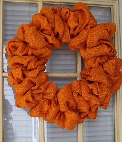 Orange Burlap wreath,DIY, Wreath, Halloween wreath, Thanksgiving wreath, Outdoor wreath,Front door Wreath,DIY Wreath,Plain Wreath, Fall Wreath, Winter Wreath