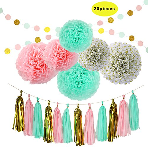 Party Decoration Supplies BCopter Tissue Pom Poms Paper Flowers Ball Tissue Tassel Blue White Grey Pink Cream Glitter Gold Black Circle Garland Hanging Craft Set Birthday Shower Wedding (Tea Party Ribbons)
