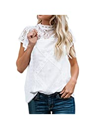 5d888e25 Paymenow 2018 Clearance Blouse for Women, Women Casual Summer Lace Splice T  Shirts Short Sleeve