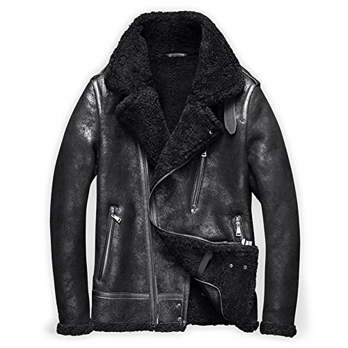 Denny&Dora Mens Shearling Coat Mens Fur Coat Shearling Notched Collar Sheepskin Leather Jacket Men Motorcycle Jacket (Black, L) (Collar Notched Coat Fur)
