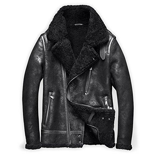 Denny&Dora Mens Shearling Coat Mens Fur Coat Shearling Notched Collar Sheepskin Leather Jacket Men Motorcycle Jacket (Black, XS) (Coat Fur Collar Notched)