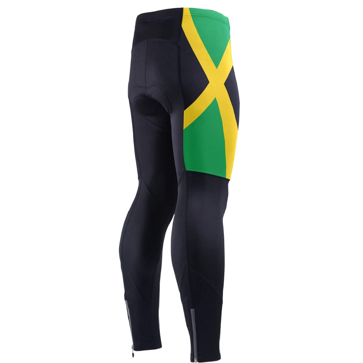 CHINEIN Men's Cycling Jersey Long Sleeve with 3 Rear Pockets Pants Jamaica Flag by CHINEIN