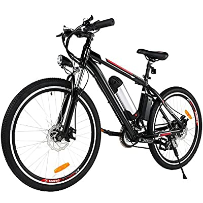 Electric Mountain Bike 26 Inch E Bike with 36V, 8AH Removable Lithium-Ion Battery, 250W Brushless Motor and 6 Shimano Speeds