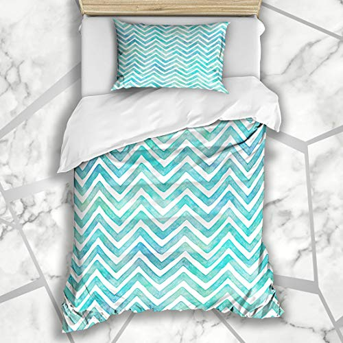 Aqua Green Pool Paint - Ahawoso Duvet Cover Sets Twin 68X86 Blue Aqua Ocean Waves Watercolor Chevron Pattern Sea Green Paint Pool Shades Summer Design Water Microfiber Bedding with 1 Pillow Shams