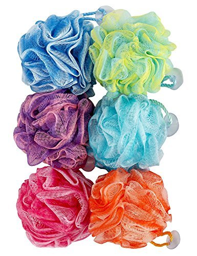 """Spa Savvy 6 Pack Bath 50 Gram 5"""" Shower Pouf Loofah with Suction Cups"""