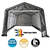 2. kdgarden 10 x 20-Feet Heavy Duty Domain Carport Portable Enclosed Car Canopy Shelter Outdoor Instant Garage Tent with Sidewalls for Auto Storage, Waterproof and UV-Treated, Gray with White Interior