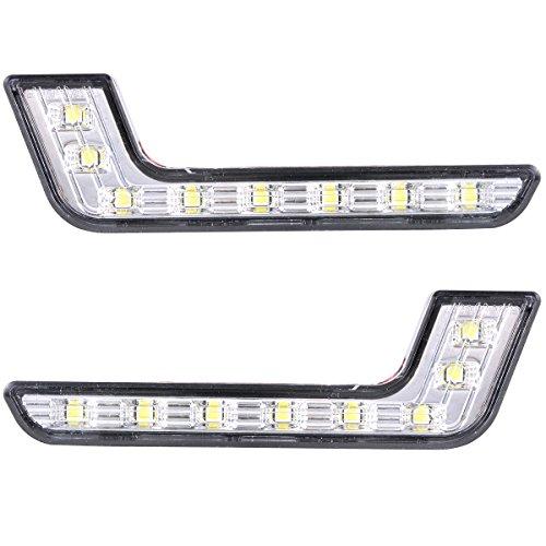 - XCSOURCE 2pcs 8-LED White LED DRL Daytime Running Light L Shape Front Fog Light for Mercedes-Benz MA145