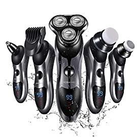 Electric Shaver Razor for Men 5 in 1 Rotary Shaver Beard Trimmer Nose Hair Trimmer Waterproof USB Fast Charging - 51pmhxhRTyL - Electric Shaver Razor for Men 5 in 1 Rotary Shavers Beard Trimmer Nose Hair Trimmer Wet and Dry Electric Shavers Men.