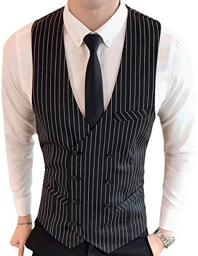 メンズ スーツベスト 上品 おしゃれ チェック柄 スーツ仕立て ストライプ Vネック ビジネス ダブルボタン カジュアル フォーマル 細身 ジレベスト 紳士