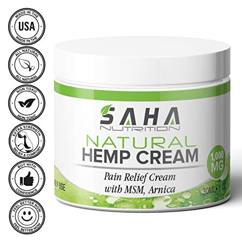 (Natural Hemp Cream for Pain Relief and Inflammation (1,000 mg) MSM and Arnica   Salve Relieves Joint Stiffness, Muscle Soreness, Chronic Arthritis   Knees, Back, Hands)