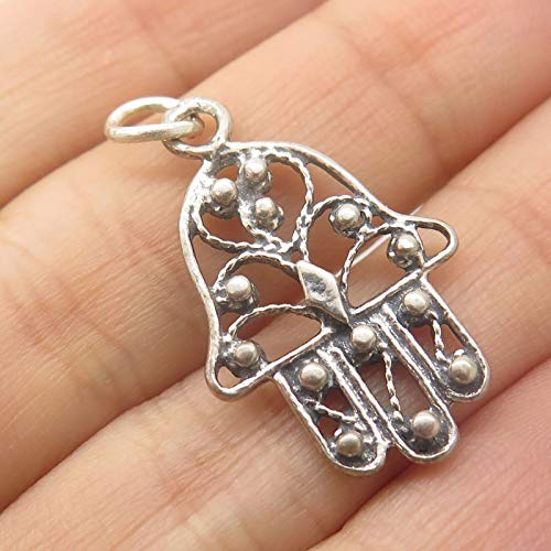 (925 Sterling Silver Judaica Hamsa Filigree Pendant Jewelry Making Supply by Wholesale Charms)