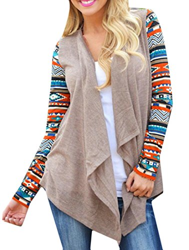 Sleeve Women's Irregular amp;S M Open amp;W Khaki Long Fashion Printing Cardigan BYw7BfqE