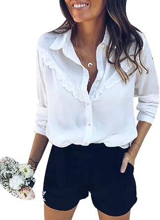 Camisa Mujer Blusa Básica de Manga Larga Vintage Camisa con Botones y Volantes Camiseta Tops Casual para Mujer OtoñO Primavera: Amazon.es: Ropa y accesorios