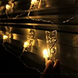20 LED Photo Clip Fairy String Light 9.8Ft Warm Battery Powered for Painting Wedding Home Decor Artwork (9.8ft)