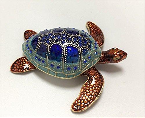 Jeweled Sea Turtle - Sea Turtle Crystal Studded Pewter Jewelry Trinket Box
