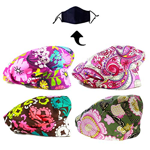 (JoyRing 4 Pack Adjustable Surgical Scrub Cap Medical Doctor Bouffant Hats with Sweatband and Free Cotton Mask (Set G))