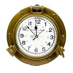 Nagina International 9 Antique Brass Premium Nautical Wall Decor Vintage Time's Clock | Pirate's Porthole Decorative Clock (Franklin & Murphy's Vintage Dial)