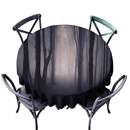 Wrinkle Resistant Tablecloth Forest Path Through Dark Deep in Forest with Fog Halloween Creepy Twisted Branches Picture Pink Brown Great for Buffet Table D51