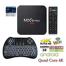 APTC Quad Core MXQ Pro Android 6.0 Amlogic S905 1080p 4K 3D Google Play Store Wifi Internet Streaming Smart Media TV Set Top Box + Backlit Wireless Keyboard Remote Control