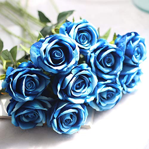 JOEJISN Artificial Flowers Roses 12pcs Real Touch Flannel Roses Silk Roses Fake Bridal Bouquet Wedding Decorations Floral Table Centerpieces for Home Kitchen Garden Party Decor (Blue Enchantress)