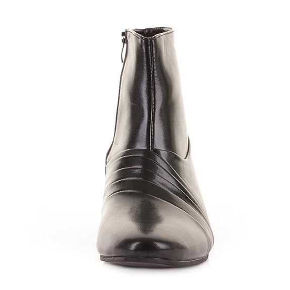 f7d63c90735e Herren-Stiefelette, elegante, formelle schwarze Schuhe in Lederoptik, für  Hochzeit und formale Gelegenheiten, Blockabsatz, Schwarz - Schwarz (Black  Pu) ...