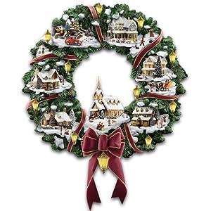 The Hamilton Collection Thomas Kinkade Victorian Christmas Village Wreath 13