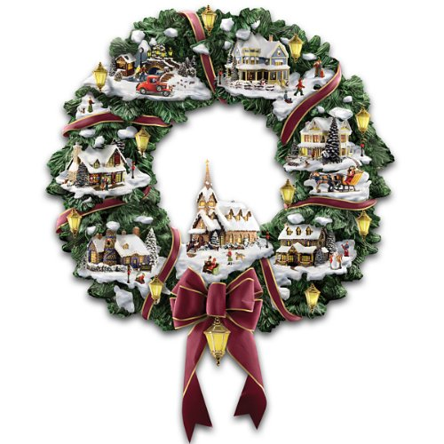 Thomas Kinkade Victorian Christmas Village Wreath by The - Thomas Kinkade Lighted Cottage