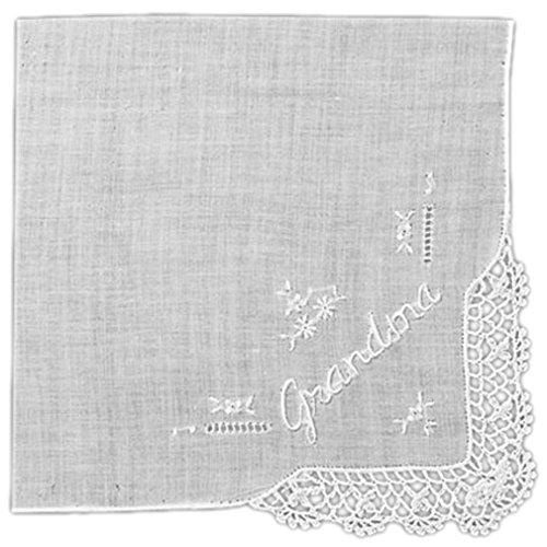Grandma Handkerchief - Women's Handkerchief White Fine Cotton 13 X 13 Inch with Grandma Embroidery and Crochet Corner (Pack of 2)