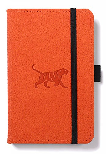 Dingbats Wildlife Pocket A6 (3.2 x 5.7) Portrait Hardcover Notebook - PU Leather, Micro-Perforated 100gsm Cream Pages, Inner Pocket, Elastic Closure, Pen Holder, Bookmark (Lined, Orange Tiger)