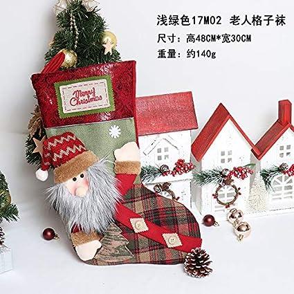 Top Shishang 1pcs Lujo Personalizado Bordado a Mano Calcetines de Navidad 3D de Papá Noel/
