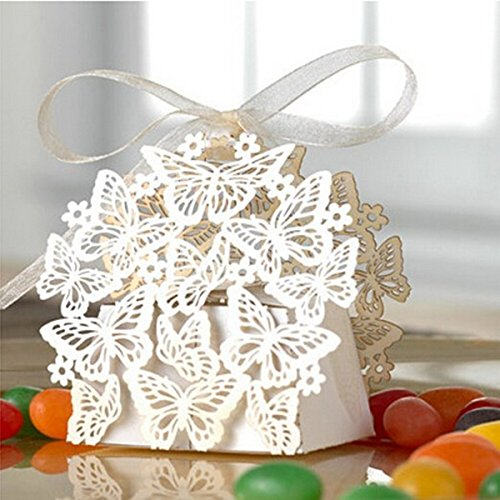Pixnor 50 Pack Laser Cut Butterfly Wedding Favor Box Birthday Shower Party Candy Boxes Bomboniere