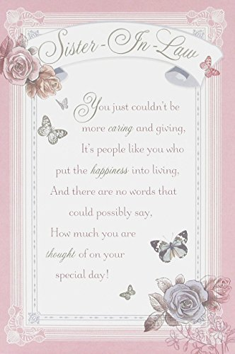 Sister In Law Birthday Card With Printed Verse Insert Flowers Butterflys 9 X