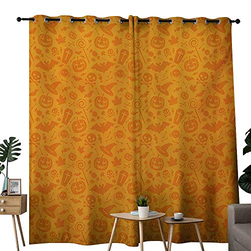 NUOMANAN Blackout Curtain Panels Window Draperies Halloween,Monochrome Design with Traditional Halloween Themed Various Objects Pumpkin Bat Print,Orange,for Bedroom, Kitchen, Living Room 120