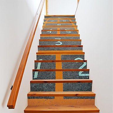 HY&GG 13Pcs/Set Diy Escalera 3D Pegatinas Saltar Escaleras Decoración Casa Gran Escalera Escaleras Juego De Números Adhesivos Murales Decoracion 18*100*13Cm.: Amazon.es: Hogar