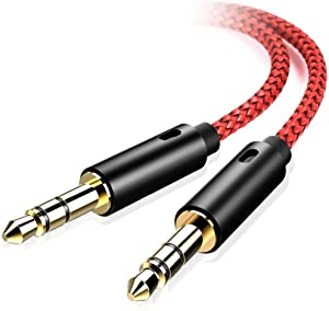 Oldboytech AUX Cable, [2-Pack, 4ft, Hi-Fi Sound Quality] 3.5mm Auxiliary Audio Cable for Car Nylon Braided AUX Cord Compatible with Stereos, Speaker, iPod iPad, Headphones, Beats and More(Red)