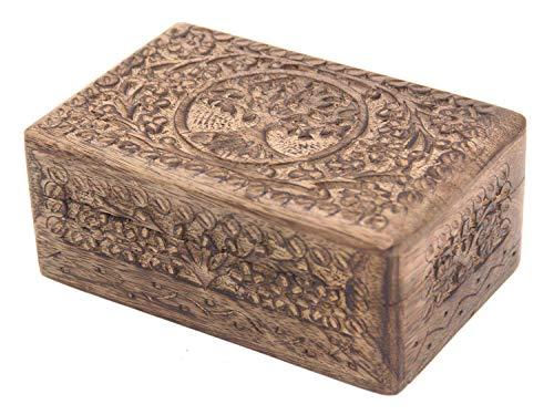 Stone Box - KayJayStyles Hand Carved Tree of Life Wooden Storage Box (Medium, Tree of Life)
