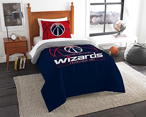 (Washington Wizards - 2 Piece TWIN Size Printed Comforter Set - Entire Set Includes: 1 Twin Comforter (64