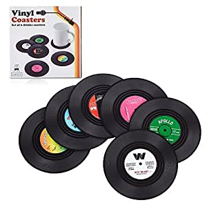 Set of 6 Retro Vinyl Record Disc Drink Coasters by Andygogo - for Tea, Coffee, Beer Mug, Music Lovers Mats Great Grip and Protection for Table with No Marks or Water Transmission
