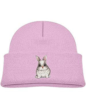 Kids Funny Cute Fat Rabbit Drawing Casual Flexible Winter Knit Hats/Ski Cap/Beanie/Skully Hat Cap