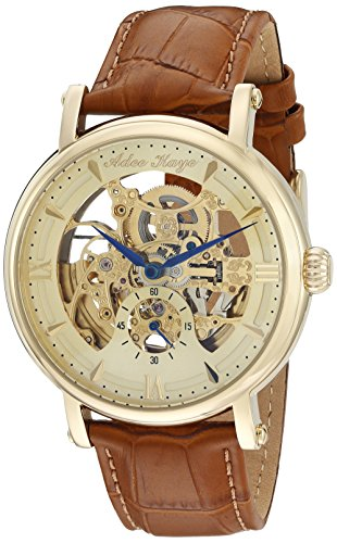 Adee Kaye Men's 'Mecha Collection' Stainless Steel and Leather Automatic Watch, Color:Brown (Model: ()